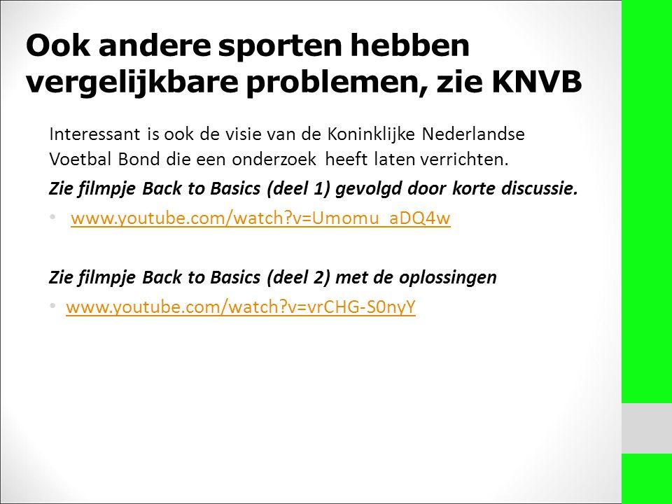 Ook andere sporten hebben vergelijkbare problemen, zie KNVB Interessant is ook de visie van de Koninklijke Nederlandse Voetbal Bond die een onderzoek