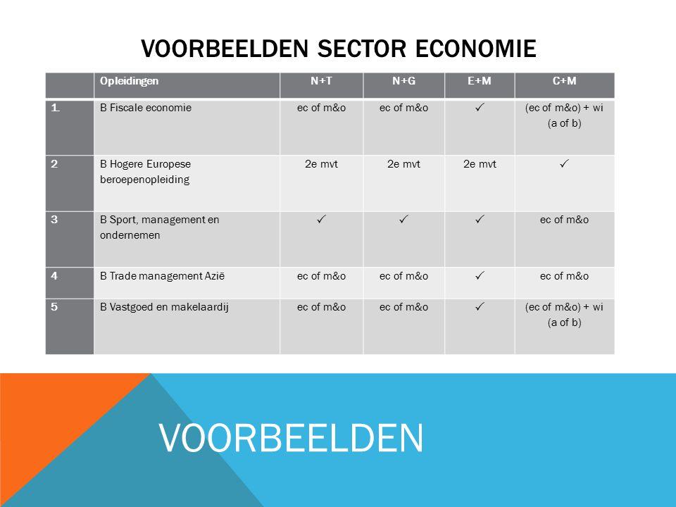 VOORBEELDEN SECTOR ECONOMIE OpleidingenN+TN+GE+MC+M 1. B Fiscale economieec of m&o  (ec of m&o) + wi (a of b) 2 B Hogere Europese beroepenopleiding 2