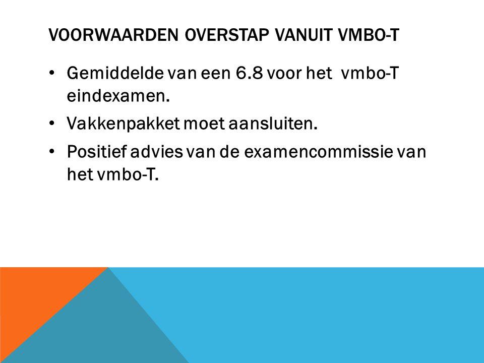VOORWAARDEN OVERSTAP VANUIT VMBO-T Gemiddelde van een 6.8 voor het vmbo-T eindexamen.