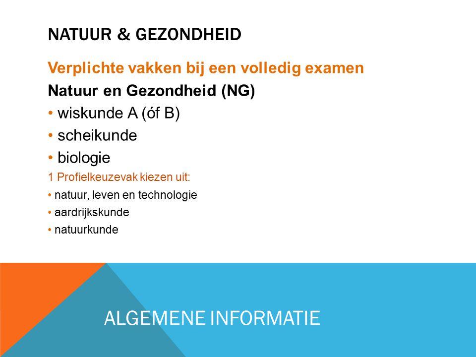 NATUUR & GEZONDHEID Verplichte vakken bij een volledig examen Natuur en Gezondheid (NG) wiskunde A (óf B) scheikunde biologie 1 Profielkeuzevak kiezen