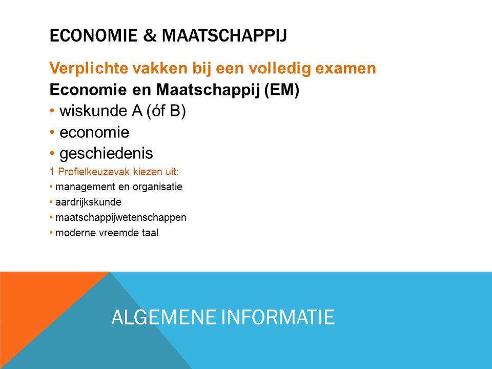 ECONOMIE & MAATSCHAPPIJ Verplichte vakken bij een volledig examen Economie en Maatschappij (EM) wiskunde A (óf B) economie geschiedenis 1 Profielkeuze