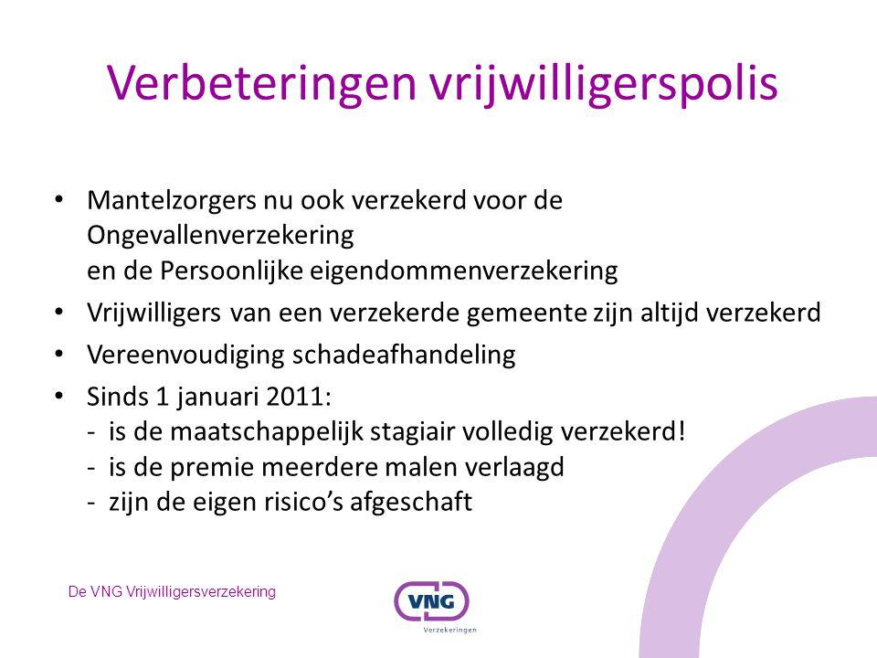 De VNG Vrijwilligersverzekering Verbeteringen vrijwilligerspolis Mantelzorgers nu ook verzekerd voor de Ongevallenverzekering en de Persoonlijke eigen