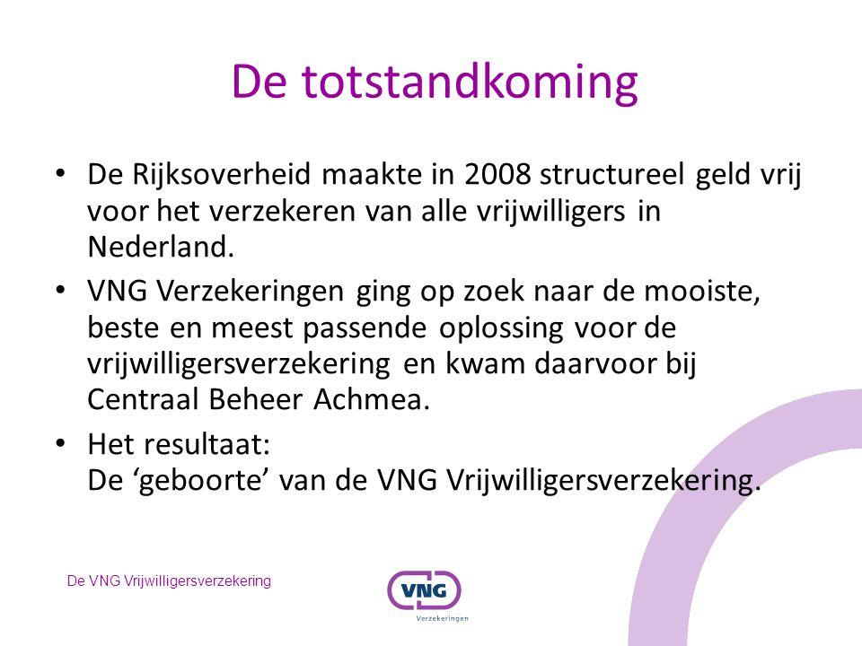 De VNG Vrijwilligersverzekering De totstandkoming De Rijksoverheid maakte in 2008 structureel geld vrij voor het verzekeren van alle vrijwilligers in