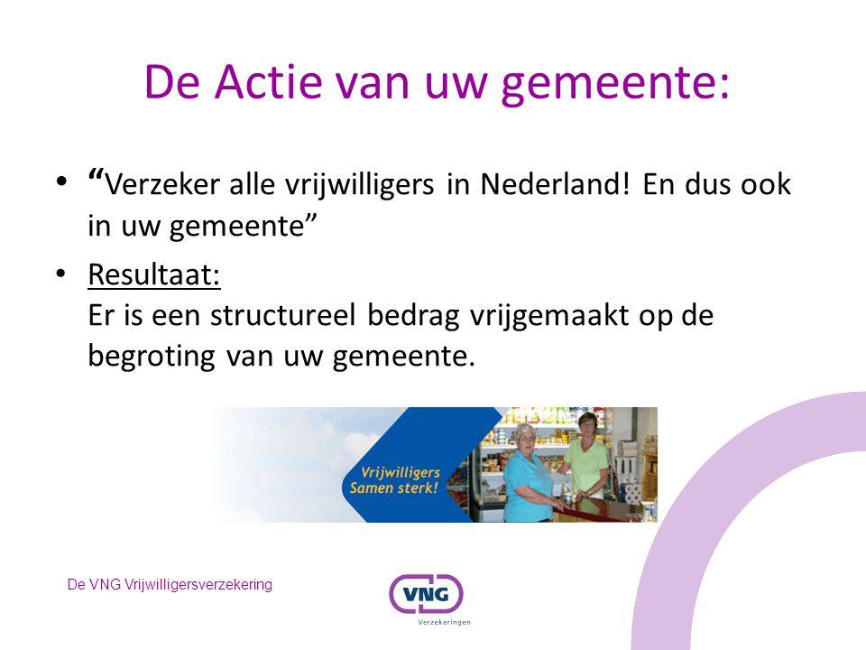 """De VNG Vrijwilligersverzekering De Actie van uw gemeente: """" Verzeker alle vrijwilligers in Nederland! En dus ook in uw gemeente"""" Resultaat: Er is een"""