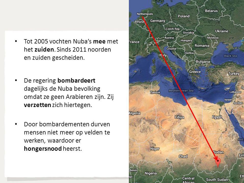 Tot 2005 vochten Nuba's mee met het zuiden. Sinds 2011 noorden en zuiden gescheiden. De regering bombardeert dagelijks de Nuba bevolking omdat ze geen