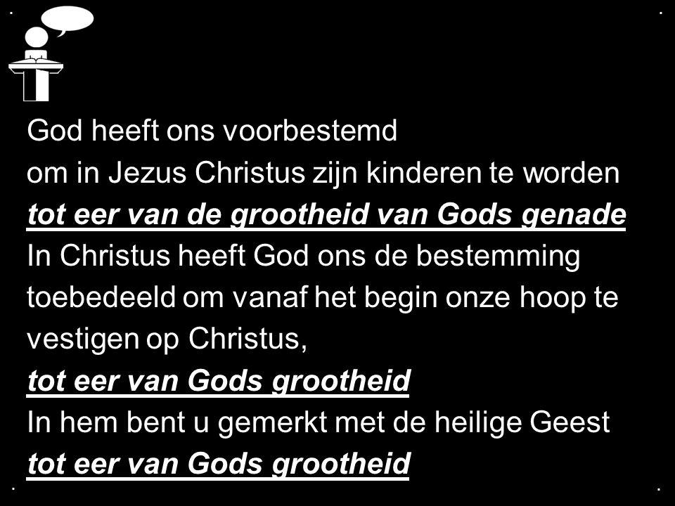 .... God heeft ons voorbestemd om in Jezus Christus zijn kinderen te worden tot eer van de grootheid van Gods genade In Christus heeft God ons de best
