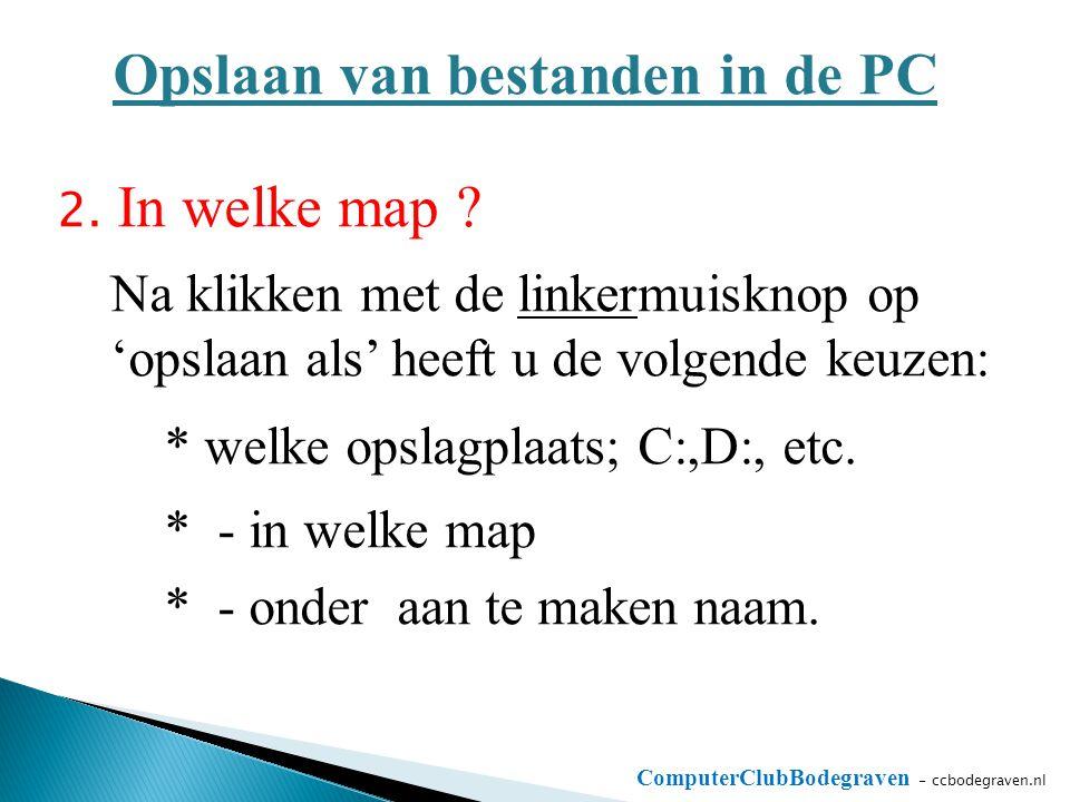 ComputerClubBodegraven - ccbodegraven.nl Opslaan van bestanden in de PC 2. In welke map ? Na klikken met de linkermuisknop op 'opslaan als' heeft u de