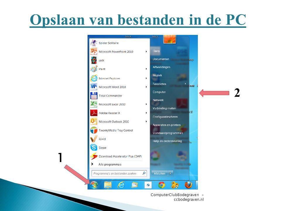 ComputerClubBodegraven - ccbodegraven.nl Opslaan van bestanden in de PC 1 2