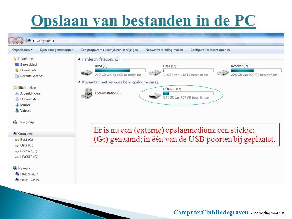 ComputerClubBodegraven - ccbodegraven.nl Opslaan van bestanden in de PC Er is nu een (externe) opslagmedium; een stickje; (G:) genaamd; in één van de USB poorten bij geplaatst.