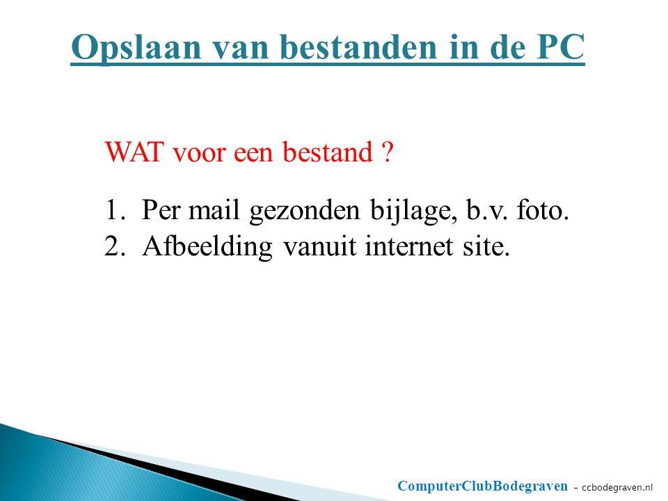 ComputerClubBodegraven - ccbodegraven.nl Opslaan van bestanden in de PC WAT voor een bestand ? 1.Per mail gezonden bijlage, b.v. foto. 2.Afbeelding va