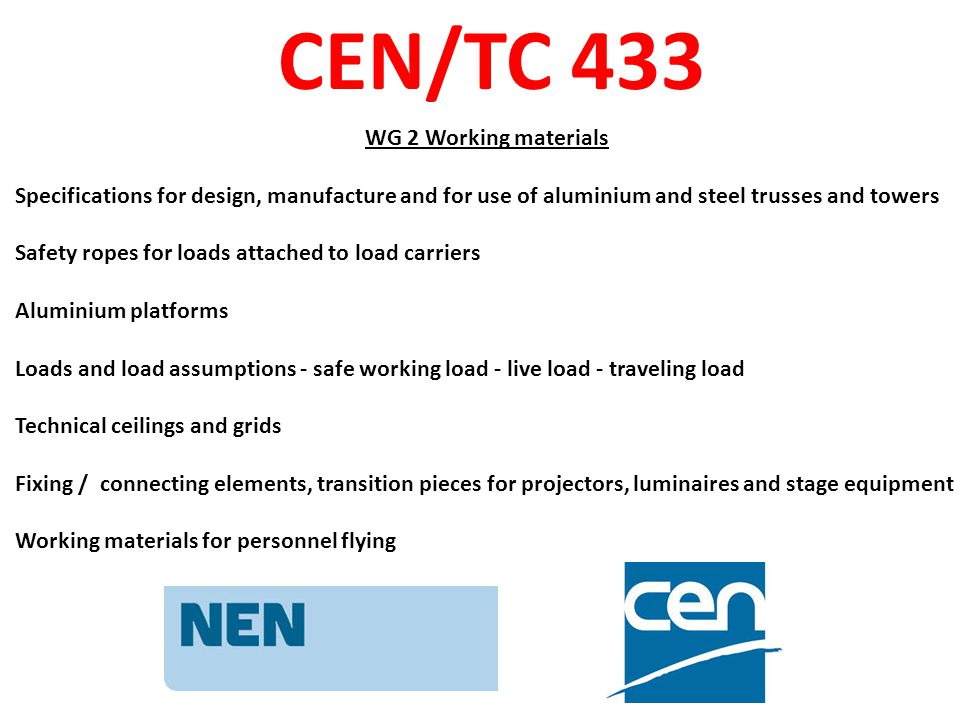 CEN/TC 433 WG 3 Terminology Standard for Terms and definitions WG 4 Codes of practice Competency requirements for personnel