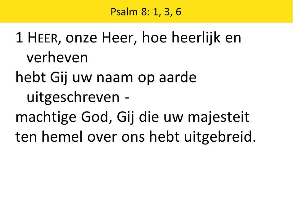 Psalm 8: 1, 3, 6 3 Aanschouw ik s nachts het kunstwerk van uw handen, de maan, de duizend sterren die daar branden, wat is de mens, dat Gij aan hem gedenkt, het mensenkind, dat Gij hem aandacht schenkt?