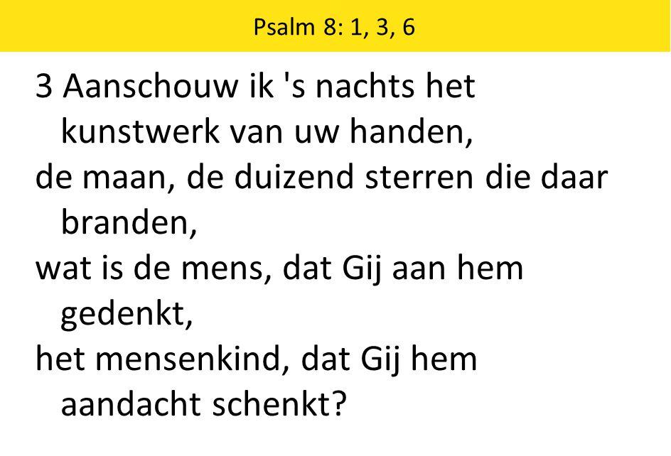 Psalm 8: 1, 3, 6 6 H EER, onze Heer, hoe heerlijk en verheven hebt Gij uw naam op aarde uitgeschreven.