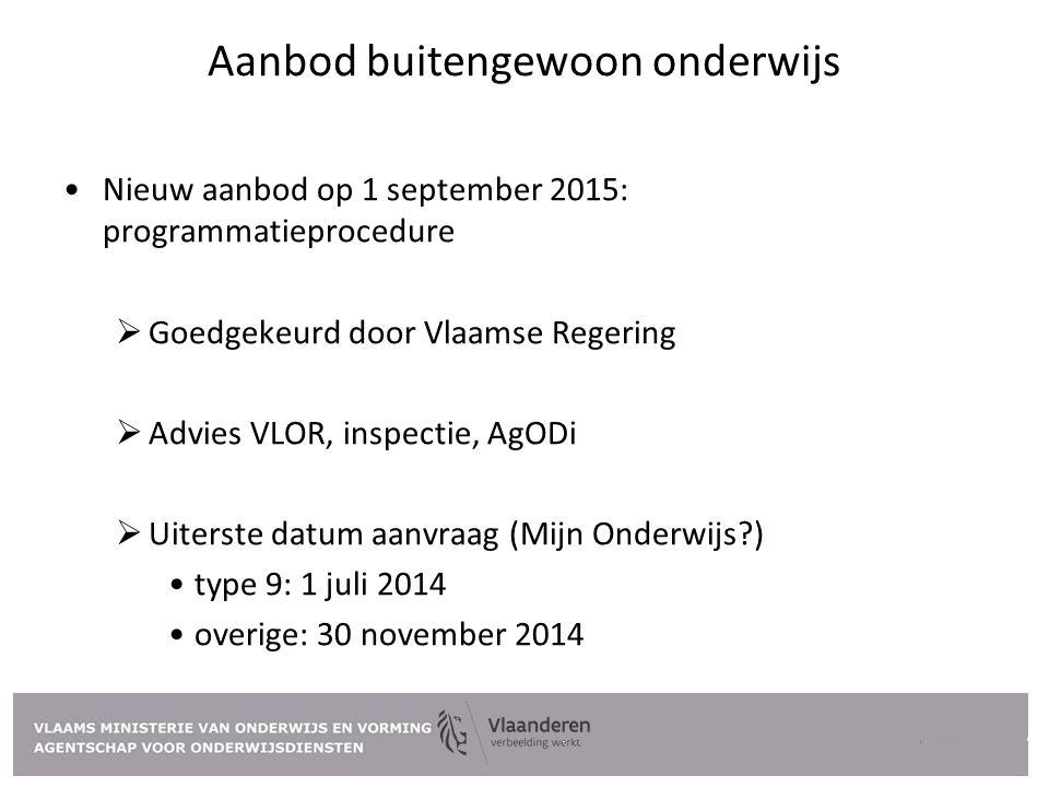 Aanbod buitengewoon onderwijs Nieuw aanbod op 1 september 2015: programmatieprocedure  Goedgekeurd door Vlaamse Regering  Advies VLOR, inspectie, Ag