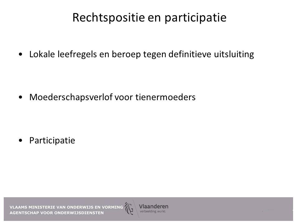 Rechtspositie en participatie Lokale leefregels en beroep tegen definitieve uitsluiting Moederschapsverlof voor tienermoeders Participatie