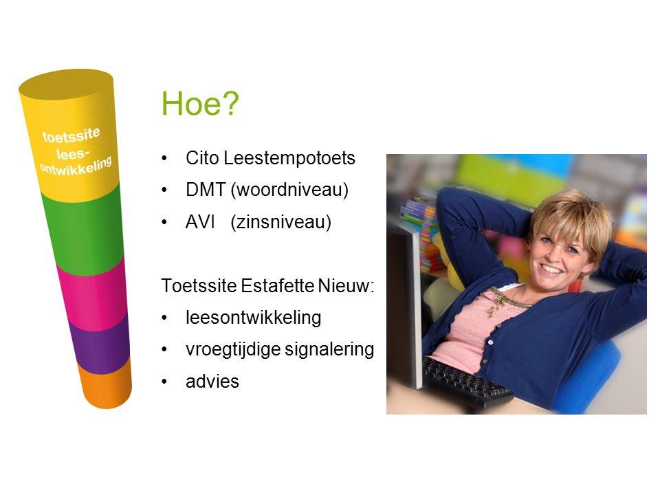 Hoe? Cito Leestempotoets DMT (woordniveau) AVI (zinsniveau) Toetssite Estafette Nieuw: leesontwikkeling vroegtijdige signalering advies