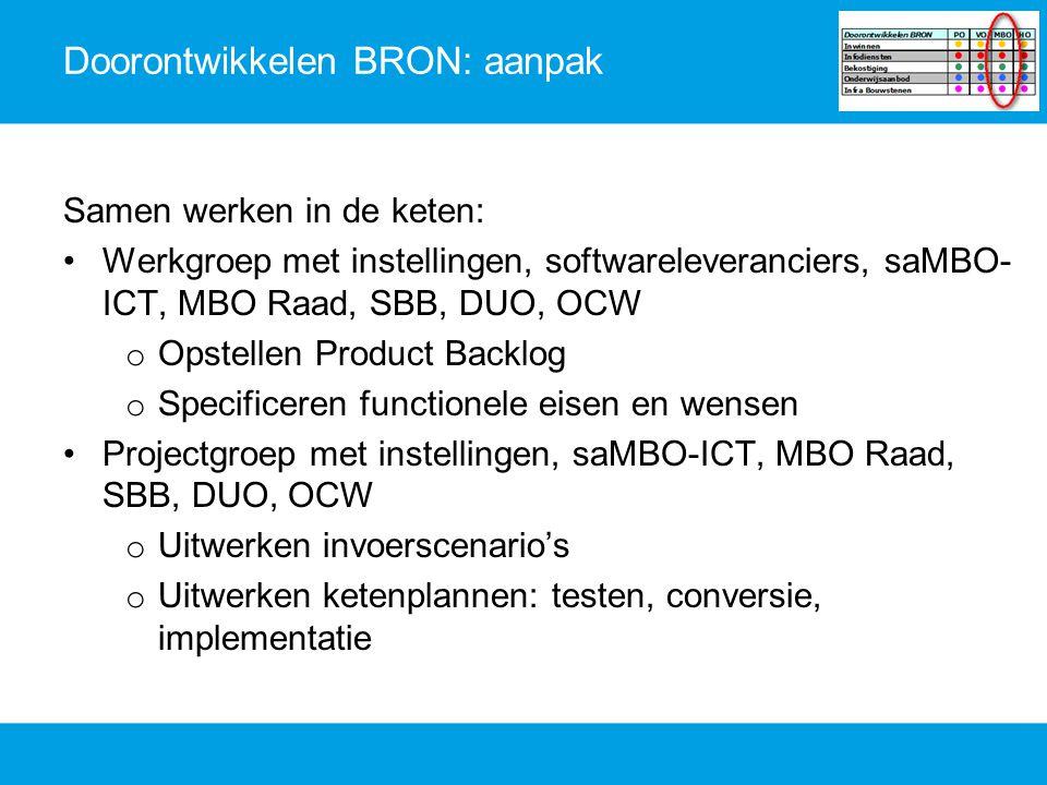 Doorontwikkelen BRON: aanpak Samen werken in de keten: Werkgroep met instellingen, softwareleveranciers, saMBO- ICT, MBO Raad, SBB, DUO, OCW o Opstell