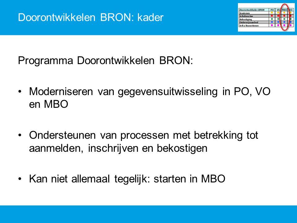 Doorontwikkelen BRON: kader Programma Doorontwikkelen BRON: Moderniseren van gegevensuitwisseling in PO, VO en MBO Ondersteunen van processen met betr