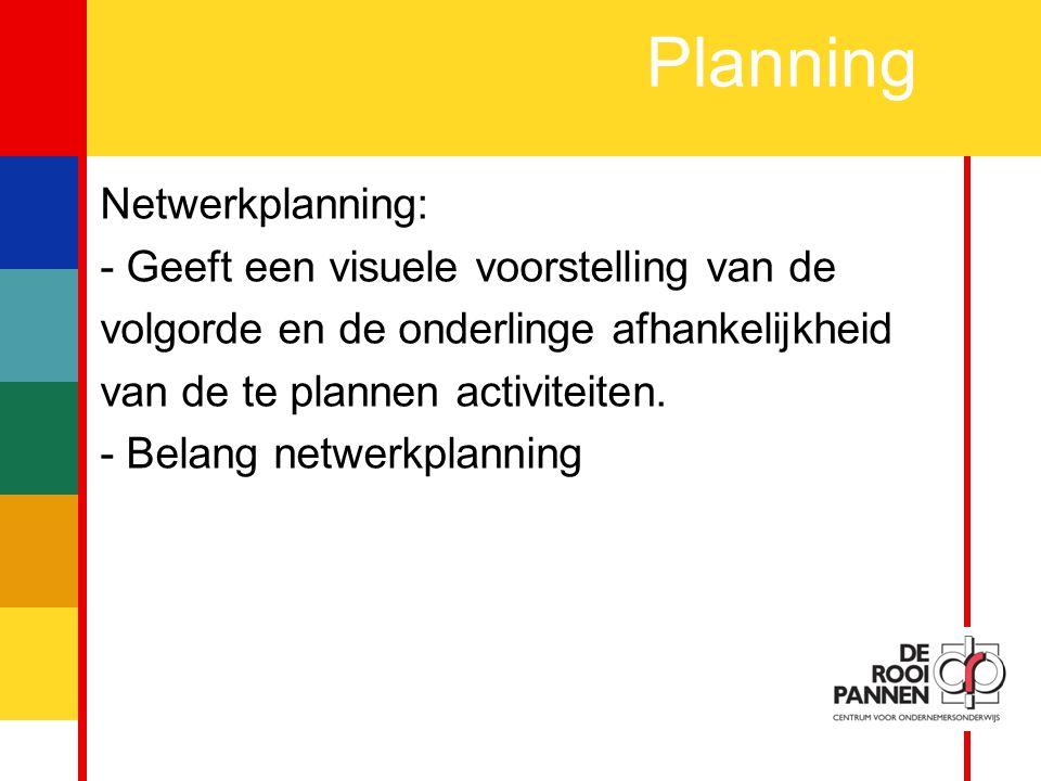 10 Planning Netwerkplanning: - Geeft een visuele voorstelling van de volgorde en de onderlinge afhankelijkheid van de te plannen activiteiten.