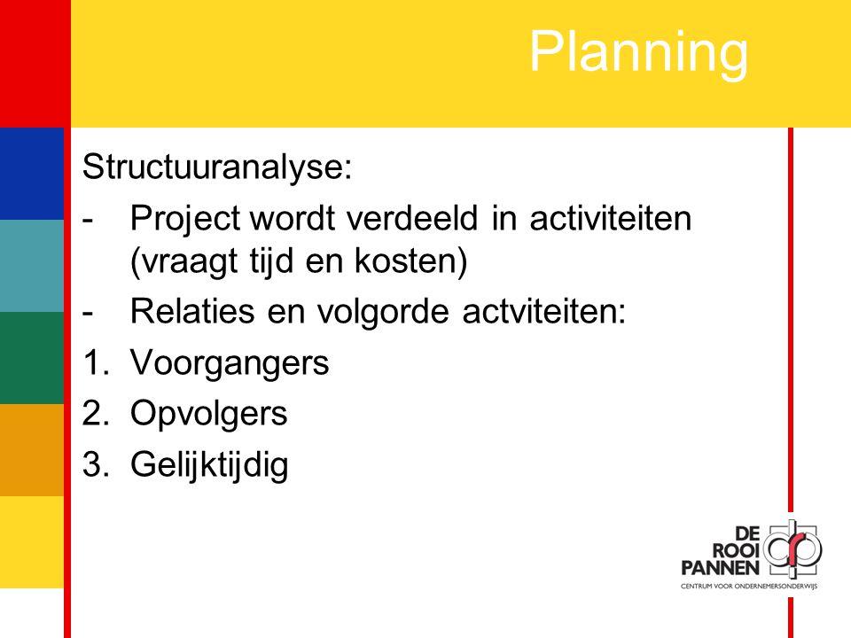 12 Planning Structuuranalyse: -Project wordt verdeeld in activiteiten (vraagt tijd en kosten) -Relaties en volgorde actviteiten: 1.Voorgangers 2.Opvolgers 3.Gelijktijdig