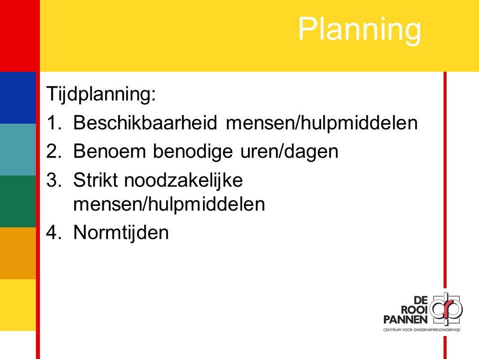 13 Planning Tijdplanning: 1.Beschikbaarheid mensen/hulpmiddelen 2.Benoem benodige uren/dagen 3.Strikt noodzakelijke mensen/hulpmiddelen 4.Normtijden