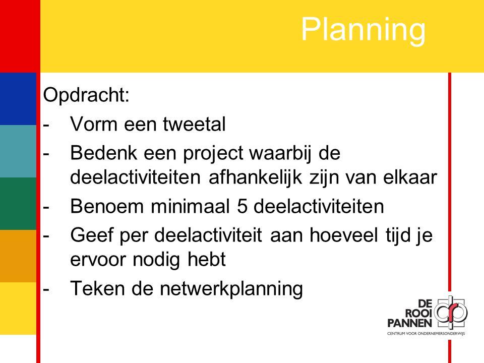 17 Planning Opdracht: -Vorm een tweetal -Bedenk een project waarbij de deelactiviteiten afhankelijk zijn van elkaar -Benoem minimaal 5 deelactiviteiten -Geef per deelactiviteit aan hoeveel tijd je ervoor nodig hebt -Teken de netwerkplanning