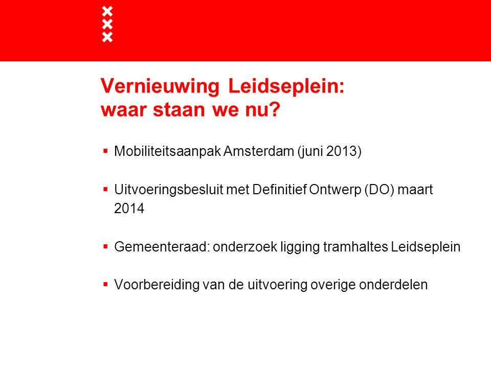 Vernieuwing Leidseplein: waar staan we nu?  Mobiliteitsaanpak Amsterdam (juni 2013)  Uitvoeringsbesluit met Definitief Ontwerp (DO) maart 2014  Gem