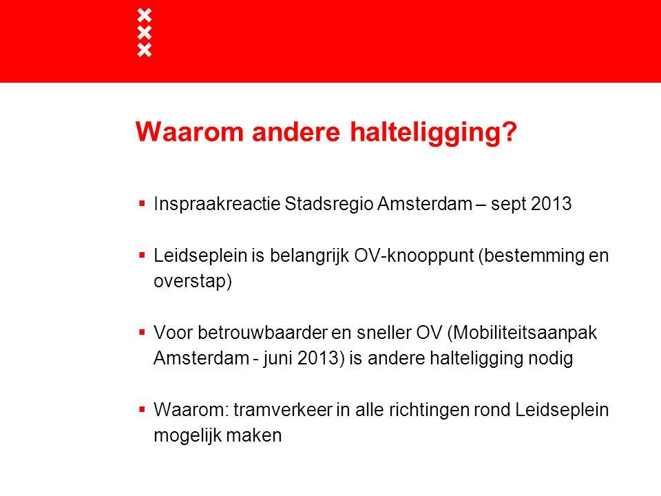Waarom andere halteligging?  Inspraakreactie Stadsregio Amsterdam – sept 2013  Leidseplein is belangrijk OV-knooppunt (bestemming en overstap)  Voo