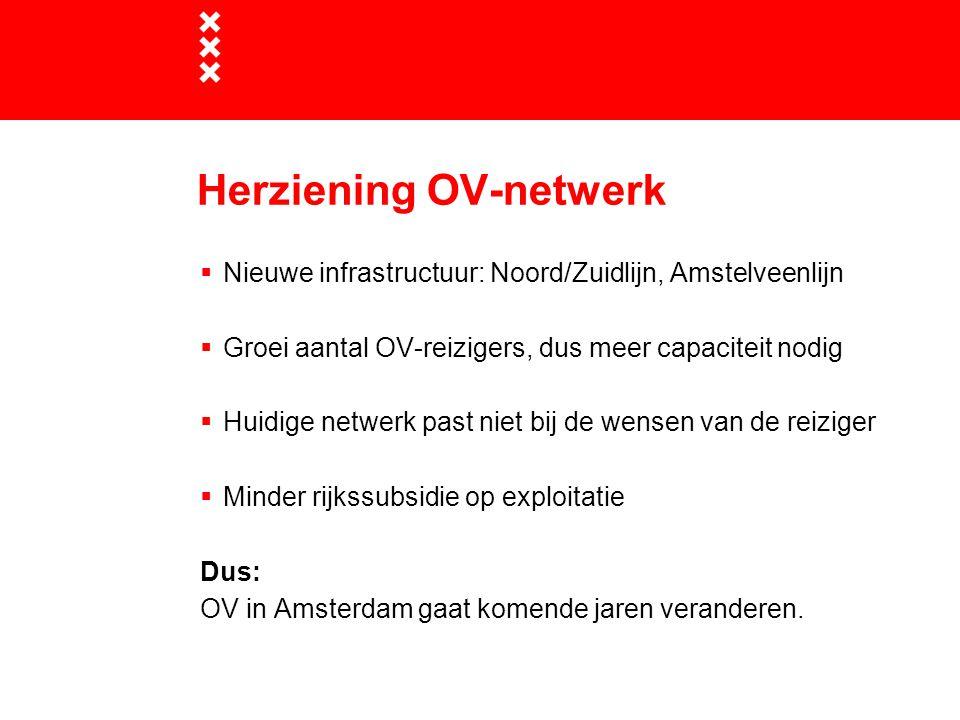 Herziening OV-netwerk  Nieuwe infrastructuur: Noord/Zuidlijn, Amstelveenlijn  Groei aantal OV-reizigers, dus meer capaciteit nodig  Huidige netwerk