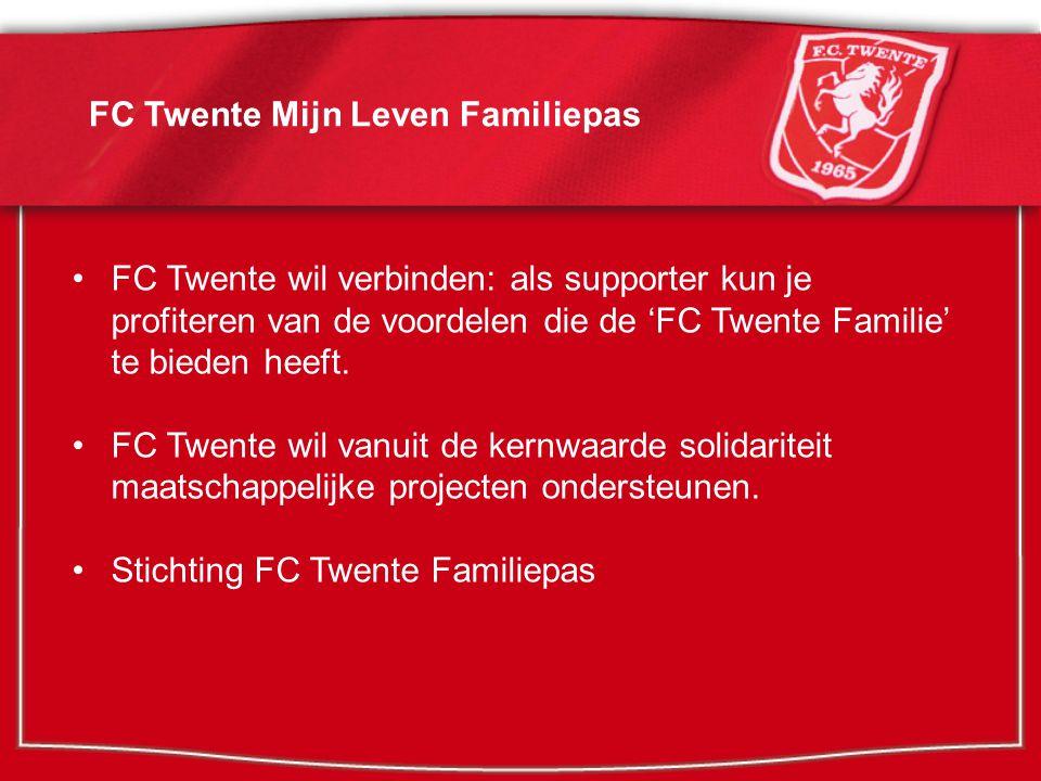 Het concept: FC Twente Familiepas Met de FC Twente Familiepas ontvang je gratis producten en abonnementen, voordelen en aanbiedingen van bedrijven rondom FC Twente.