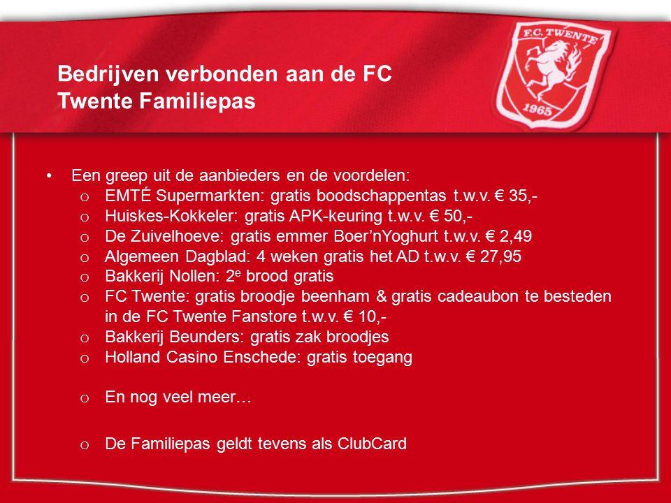 FC Twente Familiepas en supportersverenigingen (optie 1) Kickback actie: supportersverenigingen betalen per Familiepas € 25,- voor elk aangedragen lid en krijgen € 5,- retour in de clubkas.