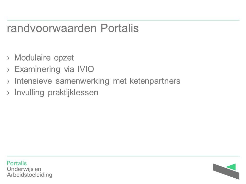 randvoorwaarden Portalis ›Modulaire opzet ›Examinering via IVIO ›Intensieve samenwerking met ketenpartners ›Invulling praktijklessen