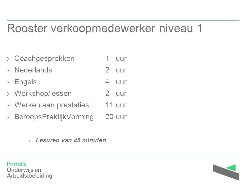 Rooster verkoopmedewerker niveau 1 ›Coachgesprekken1 uur ›Nederlands2 uur ›Engels4 uur ›Workshop/lessen2 uur ›Werken aan prestaties11 uur ›BeroepsPrak