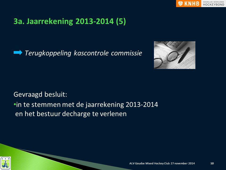 10 3a. Jaarrekening 2013-2014 (5) Terugkoppeling kascontrole commissie Gevraagd besluit: in te stemmen met de jaarrekening 2013-2014 en het bestuur de