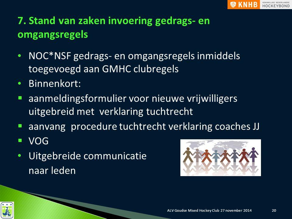 7. Stand van zaken invoering gedrags- en omgangsregels NOC*NSF gedrags- en omgangsregels inmiddels toegevoegd aan GMHC clubregels Binnenkort:  aanmel