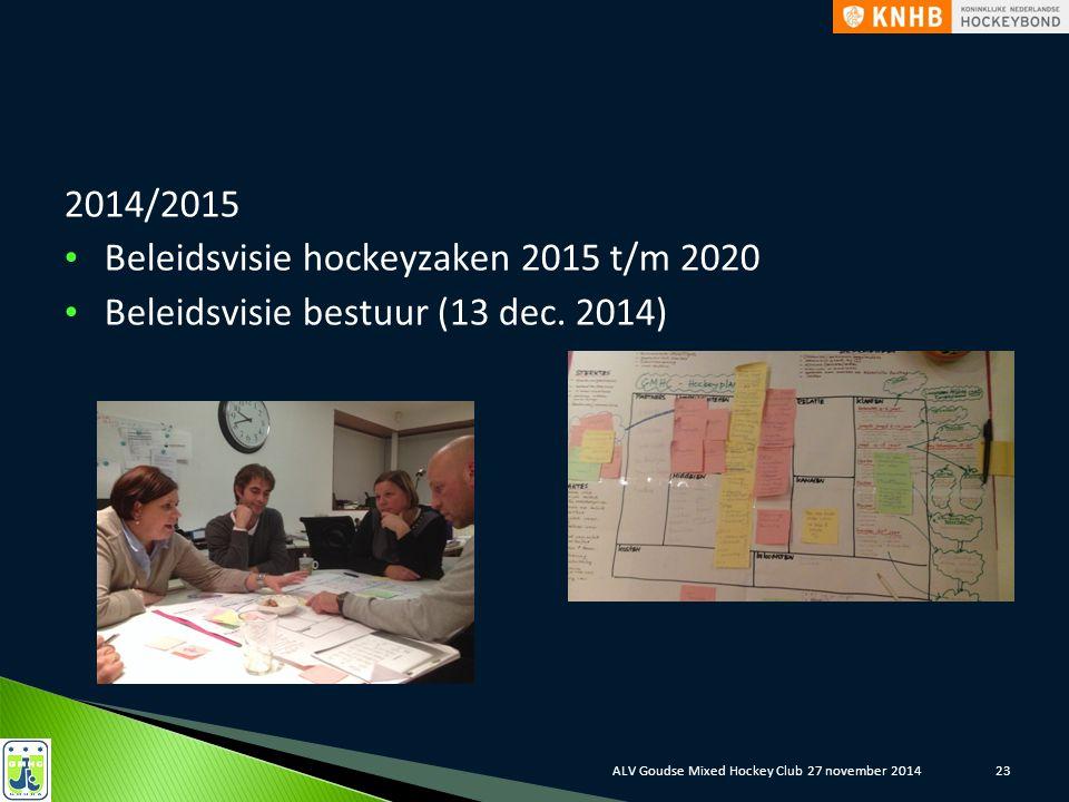 2014/2015 Beleidsvisie hockeyzaken 2015 t/m 2020 Beleidsvisie bestuur (13 dec. 2014) ALV Goudse Mixed Hockey Club 27 november 201423