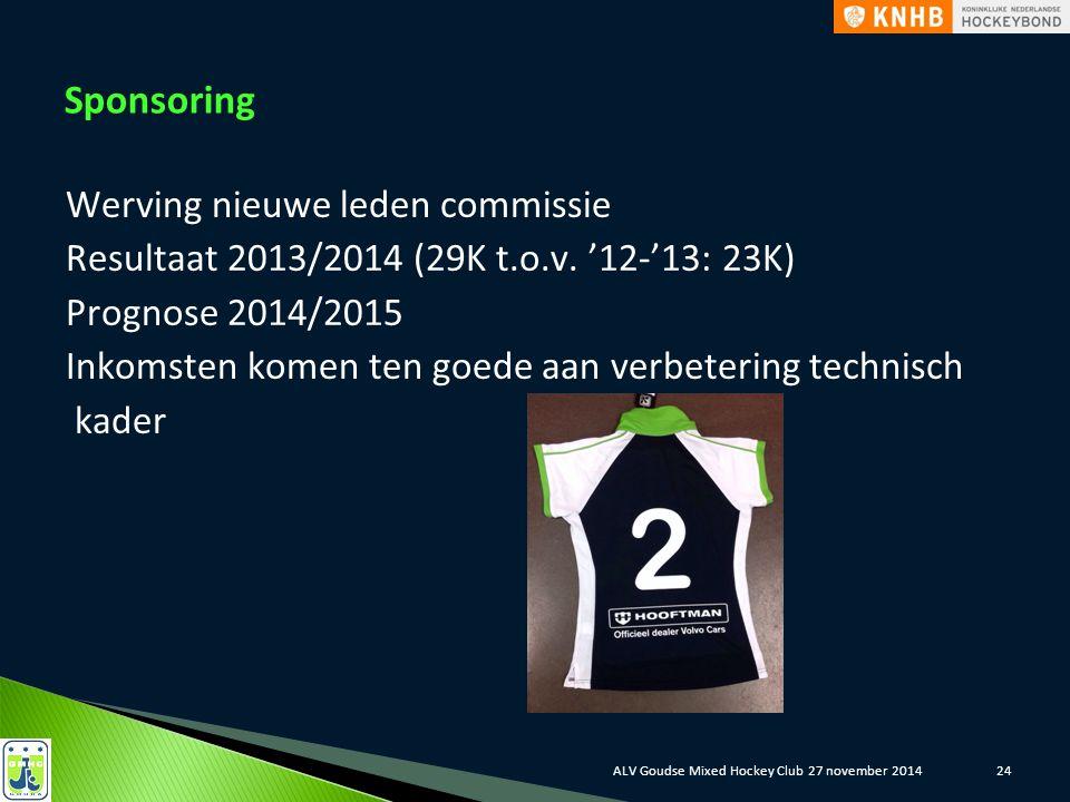 Sponsoring Werving nieuwe leden commissie Resultaat 2013/2014 (29K t.o.v. '12-'13: 23K) Prognose 2014/2015 Inkomsten komen ten goede aan verbetering t