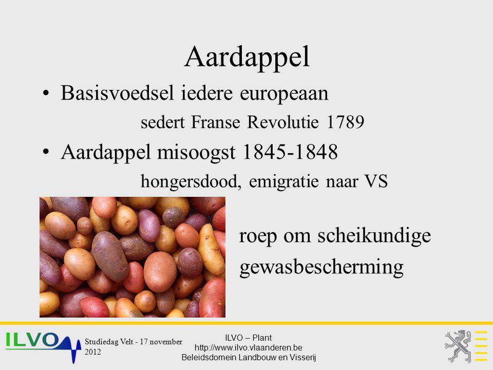 ILVO – Plant http://www.ilvo.vlaanderen.be Beleidsdomein Landbouw en Visserij Aardappel Basisvoedsel iedere europeaan sedert Franse Revolutie 1789 Aar