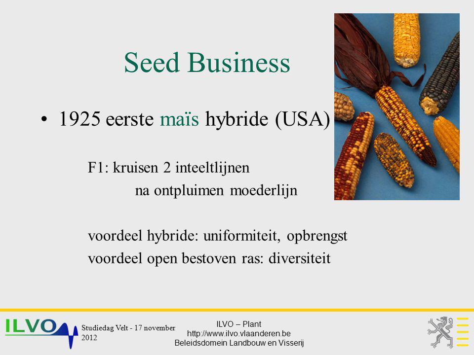 ILVO – Plant http://www.ilvo.vlaanderen.be Beleidsdomein Landbouw en Visserij Seed Business 1925 eerste maïs hybride (USA) F1: kruisen 2 inteeltlijnen