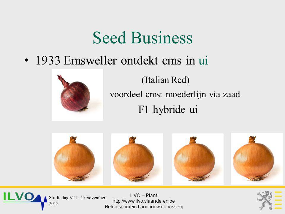 ILVO – Plant http://www.ilvo.vlaanderen.be Beleidsdomein Landbouw en Visserij Seed Business 1933 Emsweller ontdekt cms in ui (Italian Red) voordeel cm