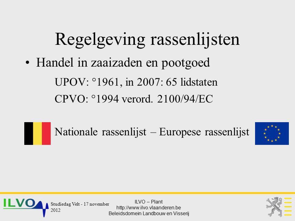 ILVO – Plant http://www.ilvo.vlaanderen.be Beleidsdomein Landbouw en Visserij Regelgeving rassenlijsten Handel in zaaizaden en pootgoed UPOV: °1961, i