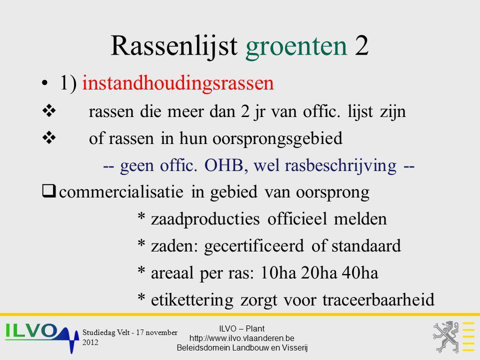 ILVO – Plant http://www.ilvo.vlaanderen.be Beleidsdomein Landbouw en Visserij Rassenlijst groenten 2 1) instandhoudingsrassen  rassen die meer dan 2