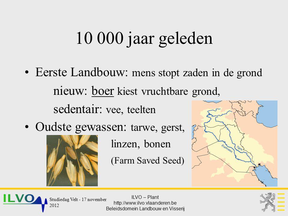 ILVO – Plant http://www.ilvo.vlaanderen.be Beleidsdomein Landbouw en Visserij 10 000 jaar geleden Eerste Landbouw: mens stopt zaden in de grond nieuw: