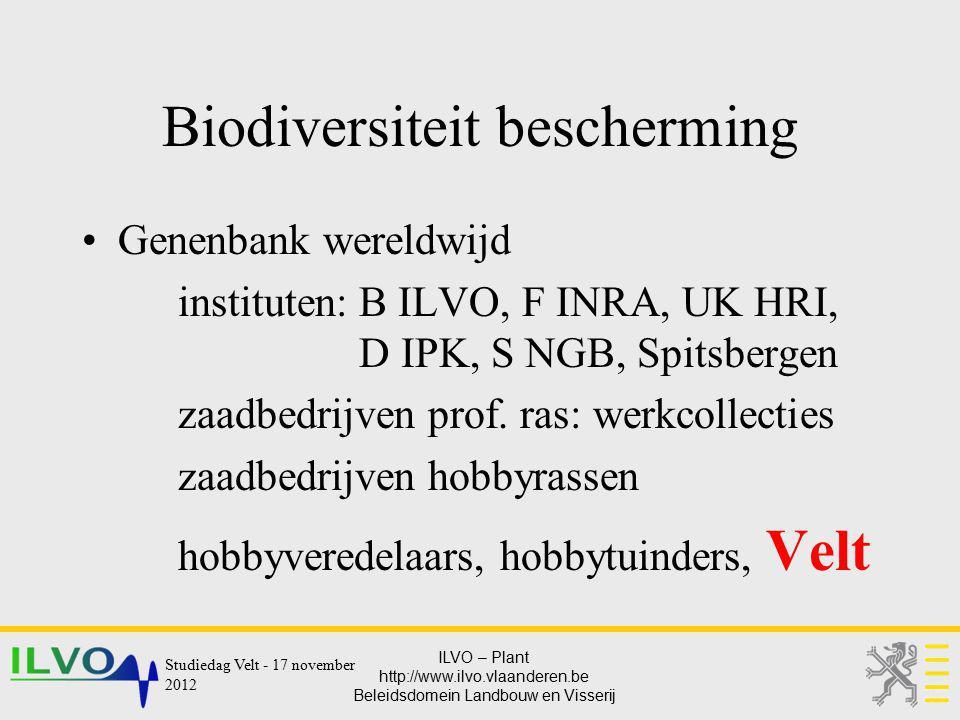 ILVO – Plant http://www.ilvo.vlaanderen.be Beleidsdomein Landbouw en Visserij Biodiversiteit bescherming Genenbank wereldwijd instituten: B ILVO, F IN