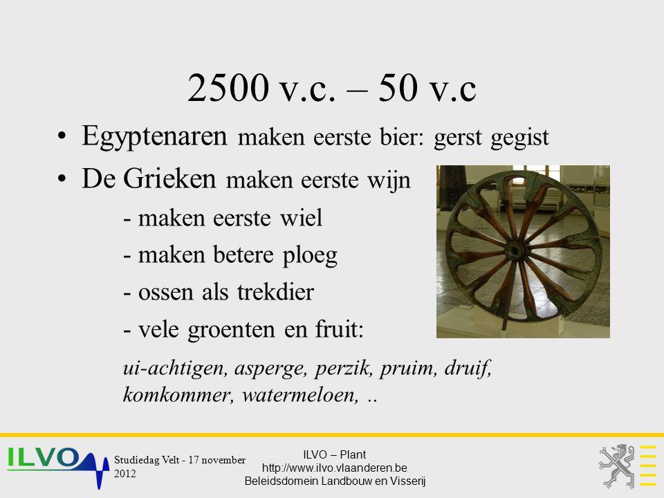 ILVO – Plant http://www.ilvo.vlaanderen.be Beleidsdomein Landbouw en Visserij 2500 v.c. – 50 v.c Egyptenaren maken eerste bier: gerst gegist De Grieke