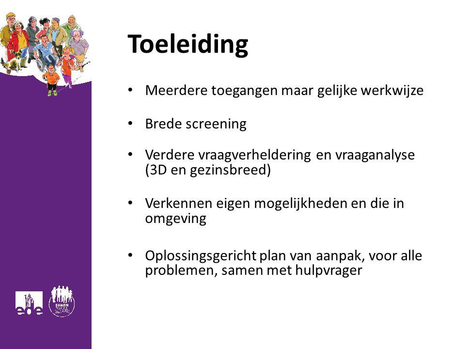 Toeleiding Meerdere toegangen maar gelijke werkwijze Brede screening Verdere vraagverheldering en vraaganalyse (3D en gezinsbreed) Verkennen eigen mog