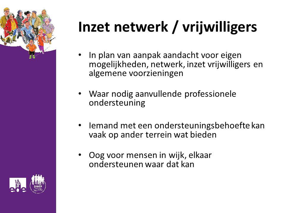 Inzet netwerk / vrijwilligers In plan van aanpak aandacht voor eigen mogelijkheden, netwerk, inzet vrijwilligers en algemene voorzieningen Waar nodig