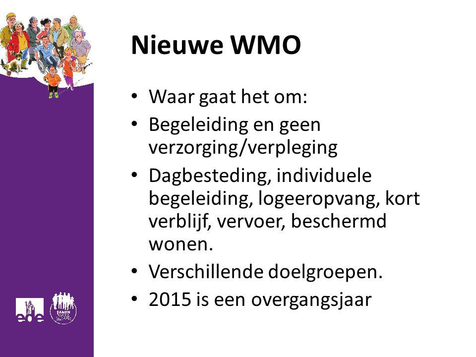 Nieuwe WMO Waar gaat het om: Begeleiding en geen verzorging/verpleging Dagbesteding, individuele begeleiding, logeeropvang, kort verblijf, vervoer, beschermd wonen.