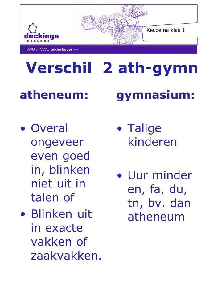 Verschil 2 ath-gymn atheneum: Overal ongeveer even goed in, blinken niet uit in talen of Blinken uit in exacte vakken of zaakvakken. gymnasium: Talige