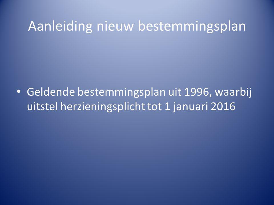 Aanleiding nieuw bestemmingsplan Geldende bestemmingsplan uit 1996, waarbij uitstel herzieningsplicht tot 1 januari 2016